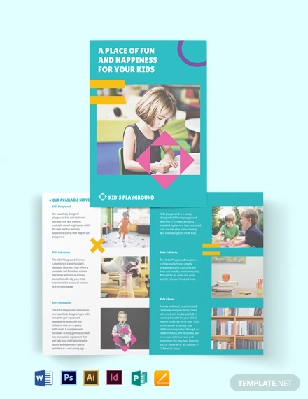play school bi fold brochure template