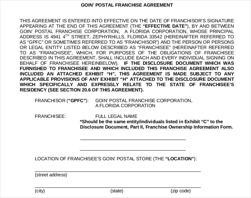 postal franchise agreement