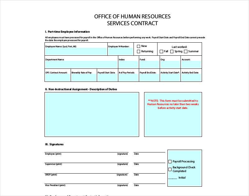 printable hr service contract