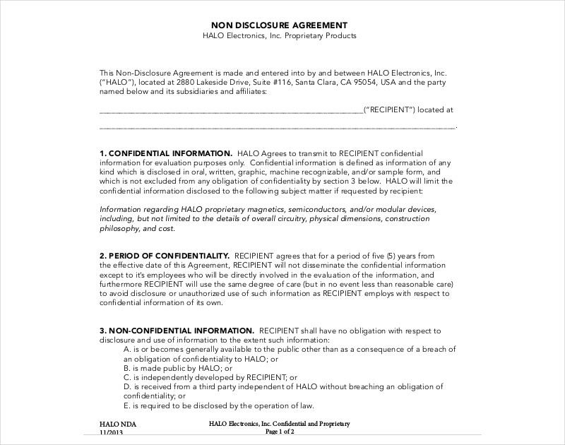 printable non disclosure agreement