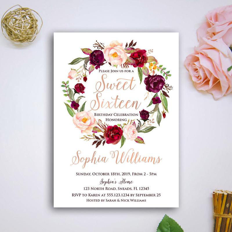 printable sweet sixteen invitation