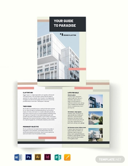 professional real estate broker agent agency bi fold brochure template