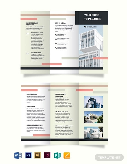 professional real estate broker agent agency tri fold brochure template