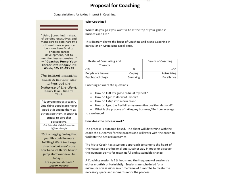 proposal for coaching