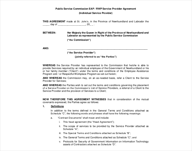 public service commission agreement