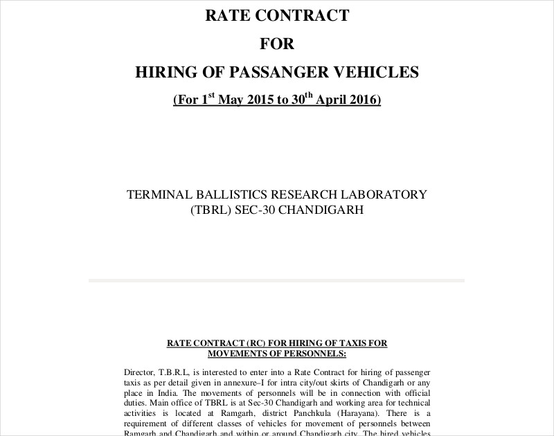 rate contract for hiring of passenger vehicles