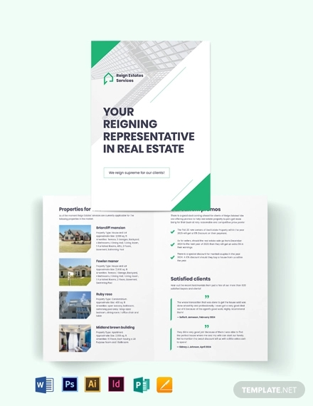 real estate agent agency marketing bi fold brochure template