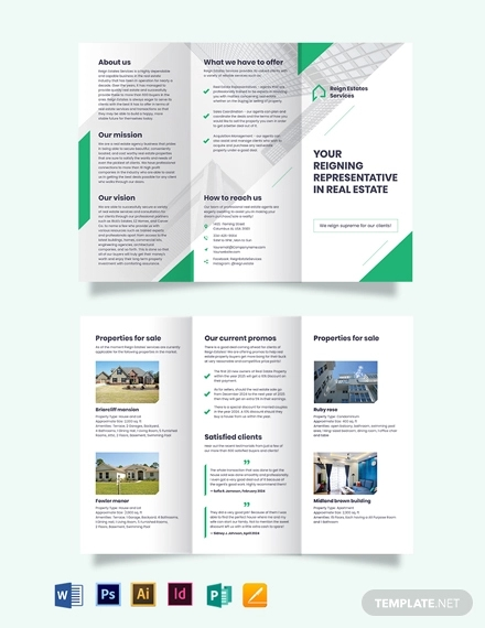 real estate agent agency marketing tri fold brochure template