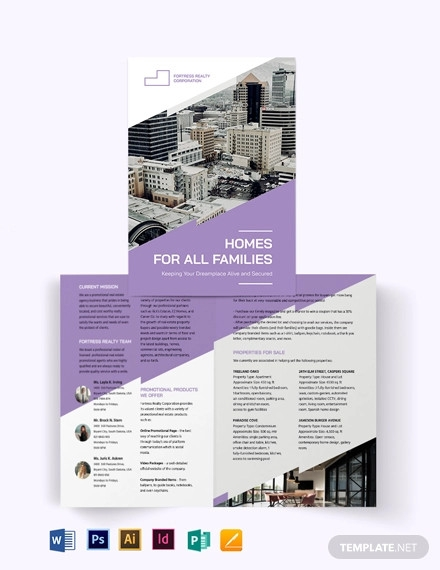 real estate agent agency promotional bi fold brochure template