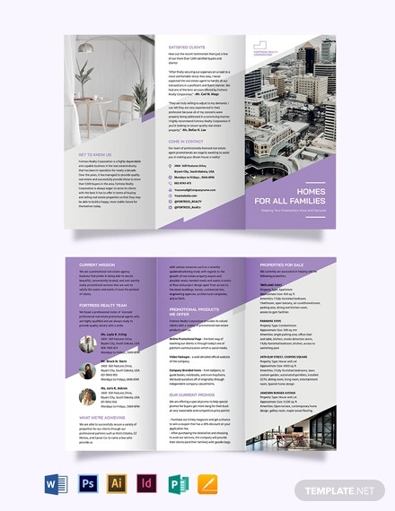 real estate agent agency promotional tri fold brochure template