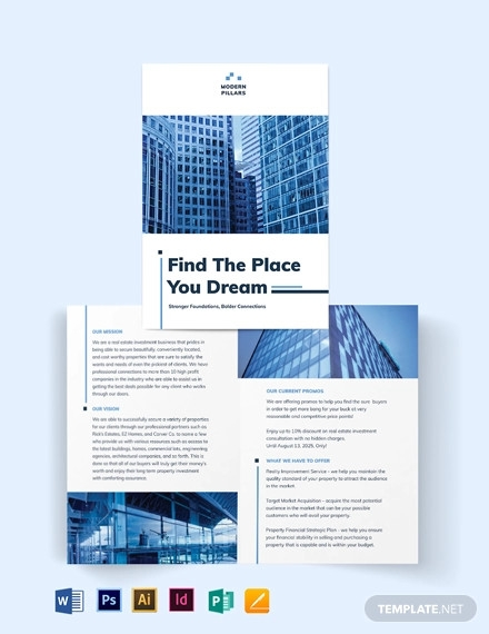 real estate investment company bi fold brochure template