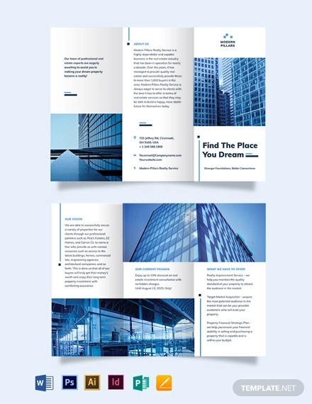 real estate investment company tri fold brochure template