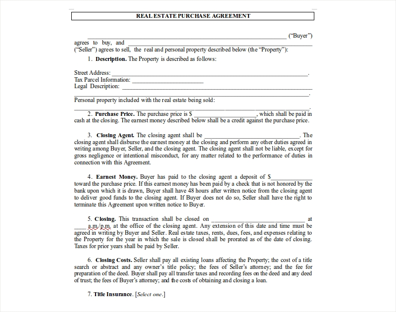 12 Purchase Agreement Examples Pdf Doc