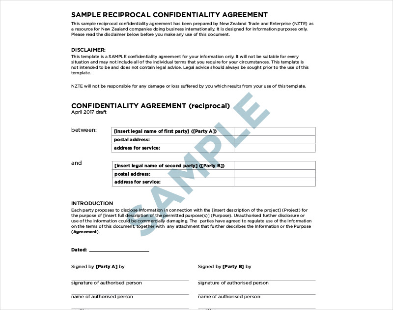 reciprocal confidentiality agreement