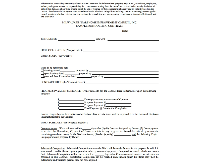 remodeling agent contract