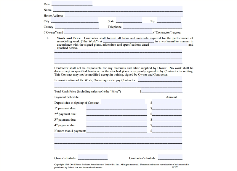 remodeling contract form