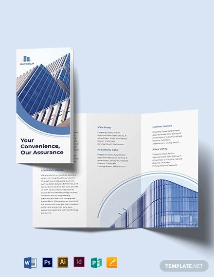 rental property realtor tri fold brochure template