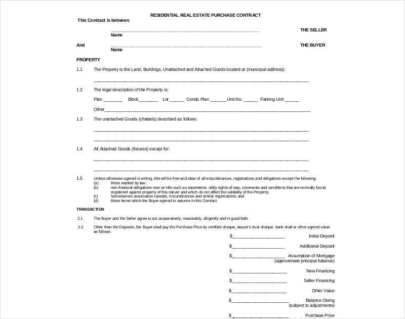 residential real estate purchase contract