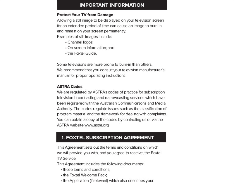 residential subscription television agreement