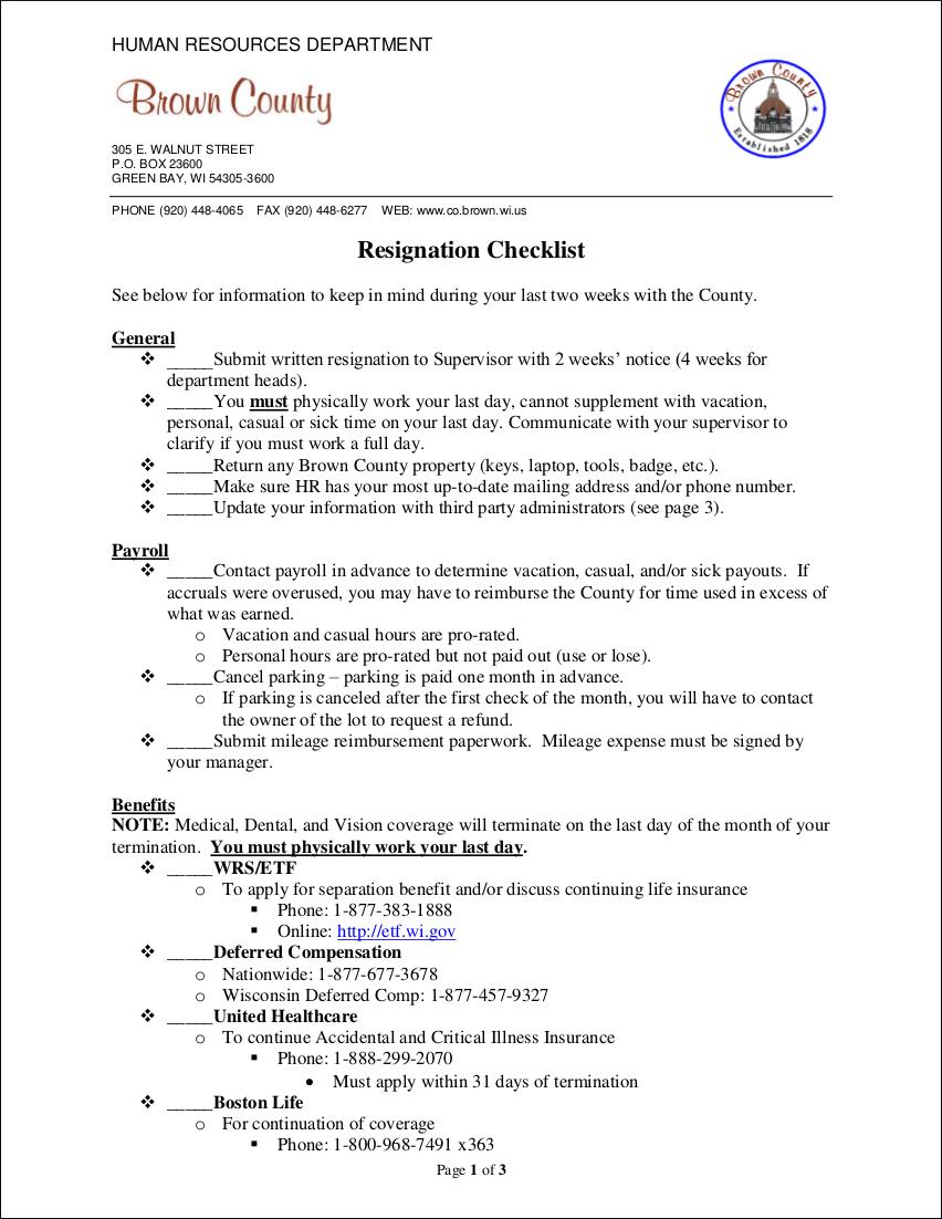 resignation checklist in pdf
