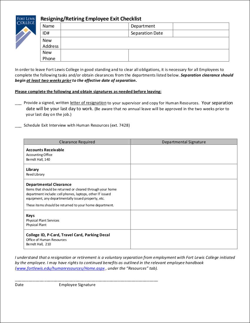 resigningretiring employee exit checklist