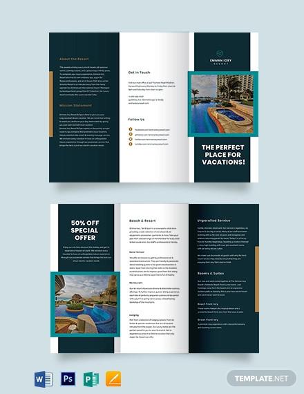 resort promotional tri fold brochure template