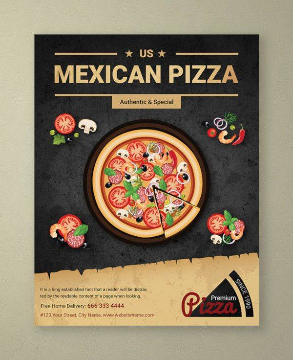 restaurant mexican pizza flyer template 600