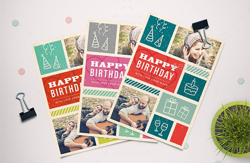 retro birthday greeting card