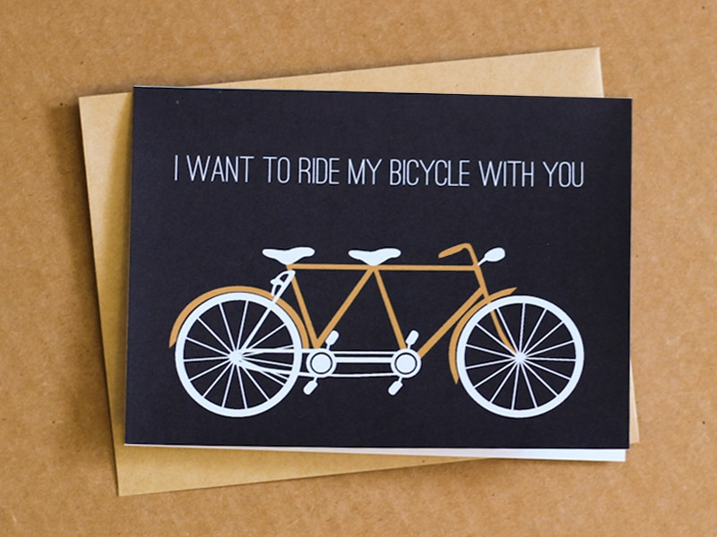 romantic tandem greeting card