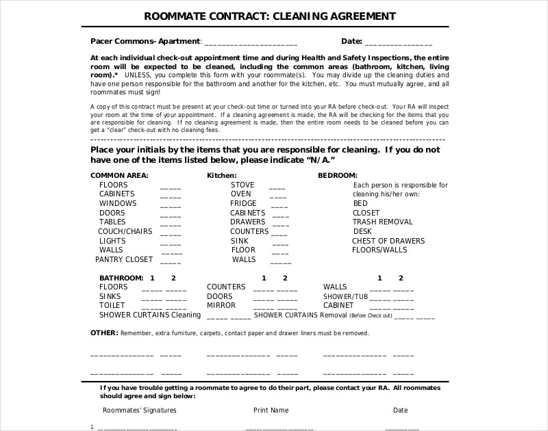 roommate cleaning contract