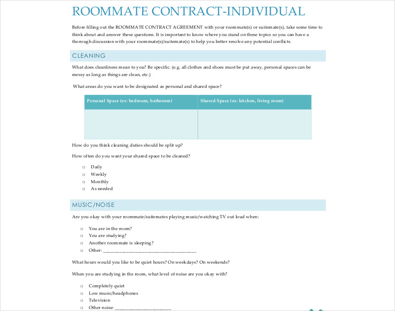 roommate contract individual