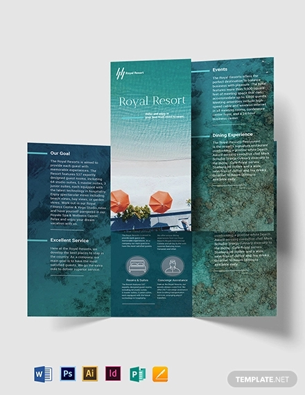 royal resort tri fold brochure template