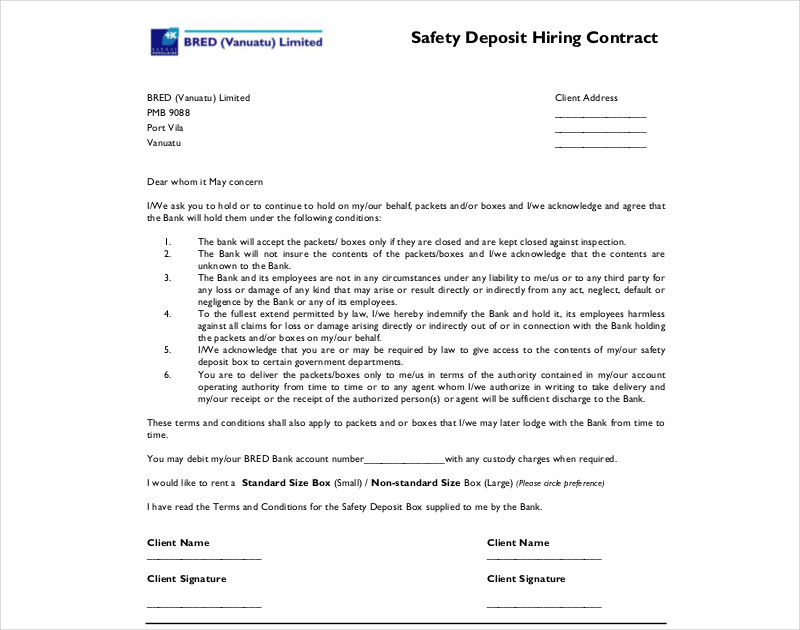 safety deposit hiring contract