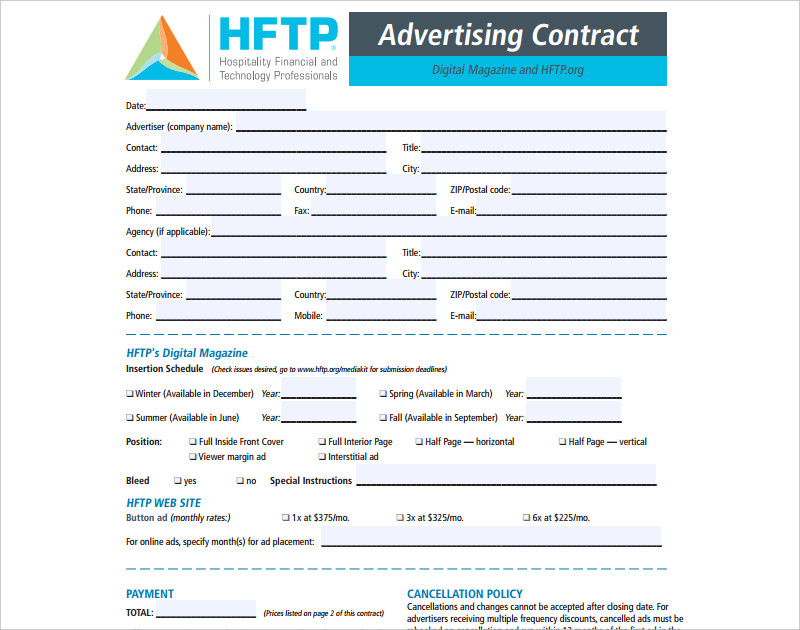 sample advertising contract