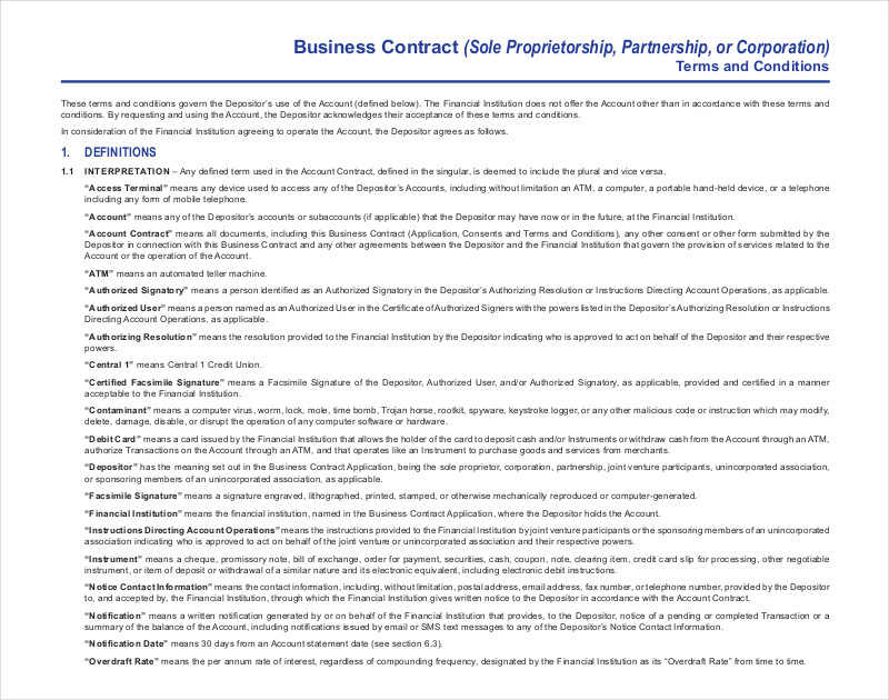 sample business contract