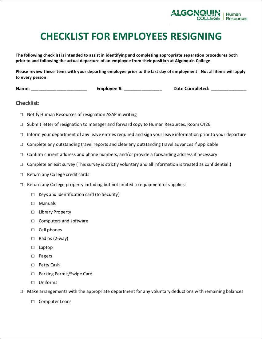 sample checklist for employee resignation