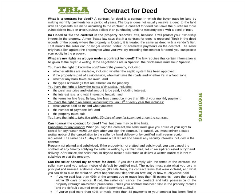 sample contracts for deed