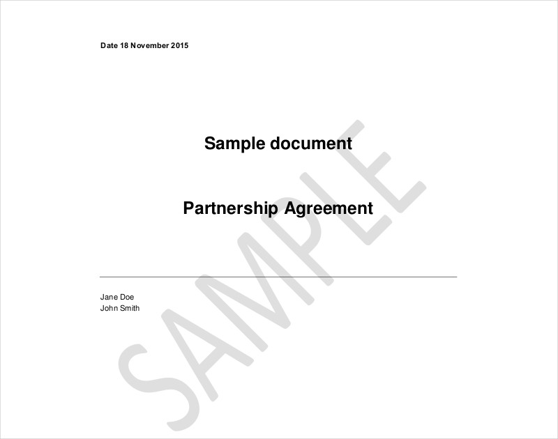 sample document partnership agreement