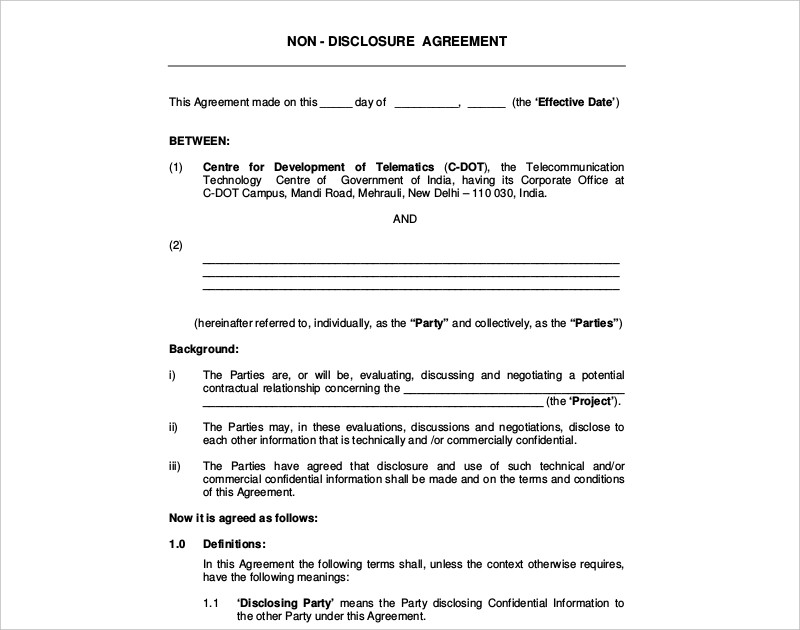 16 Non Disclosure Agreement Examples Samples Pdf Doc