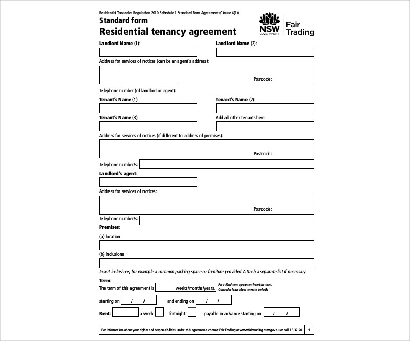 sample residential tenancy agreement