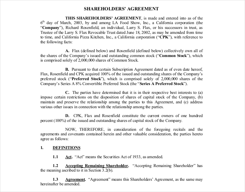 11 Shareholders Agreement Examples Samples Pdf
