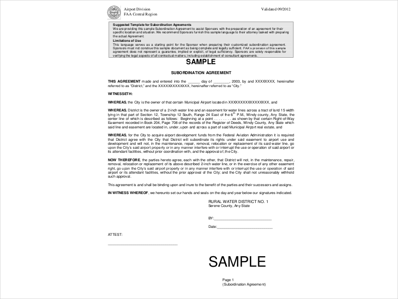 sample subordination agreement