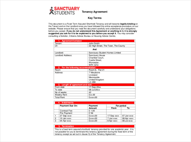 sample tenancy agreement