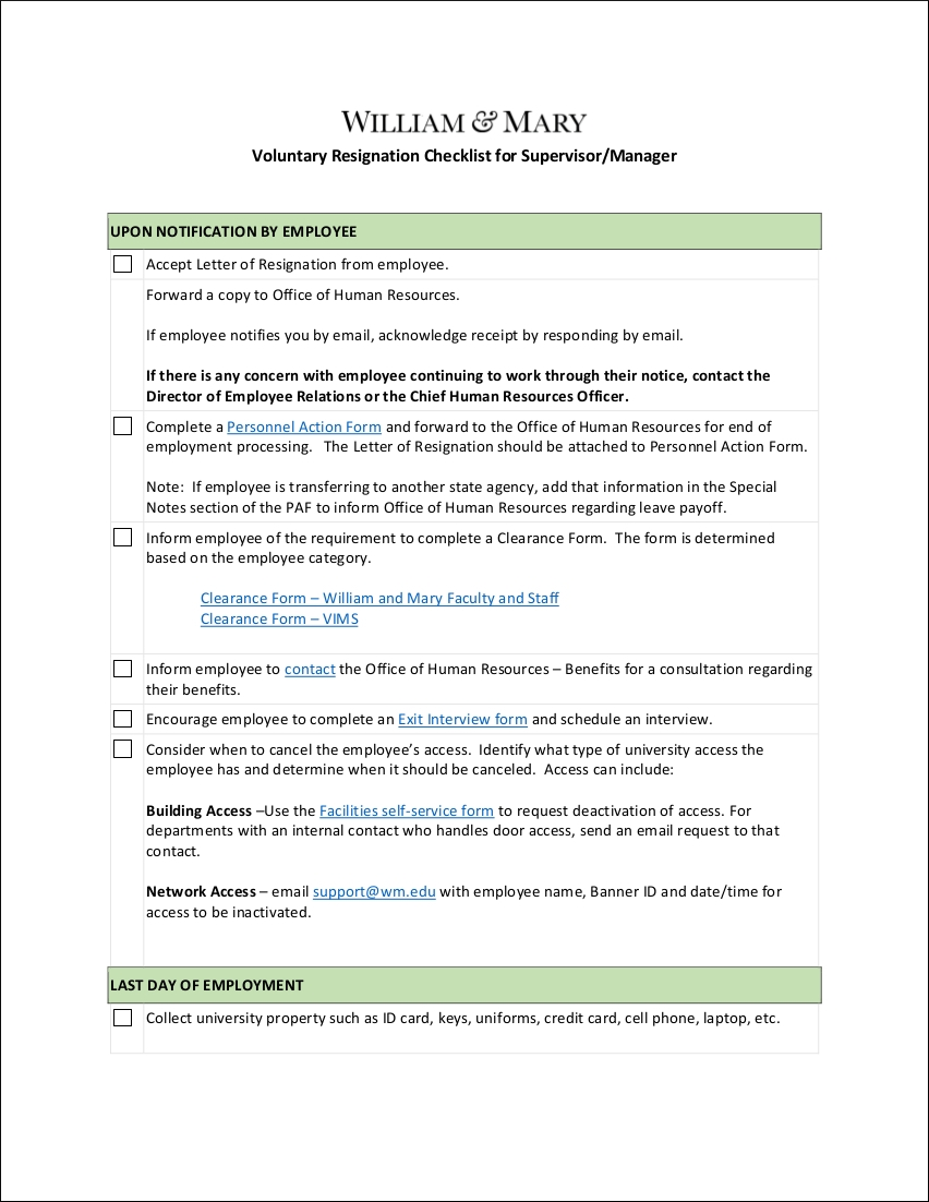 9 resignation checklist examples templates pdf sample voluntary resignation checklist for supervisor aljukfo Image collections