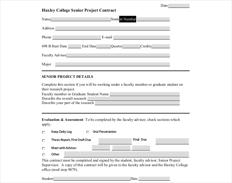senior project contract