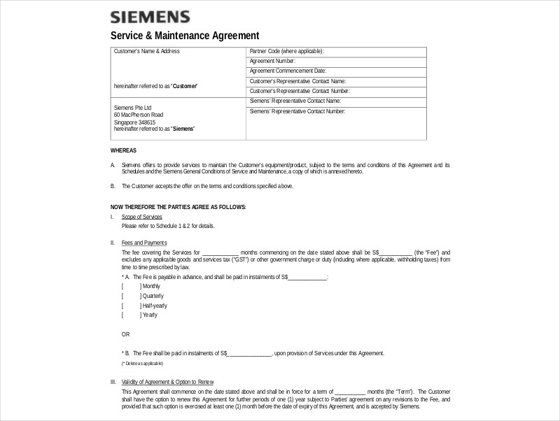 service maintenance agreement