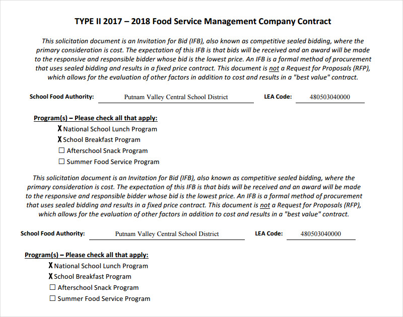 service management company contract