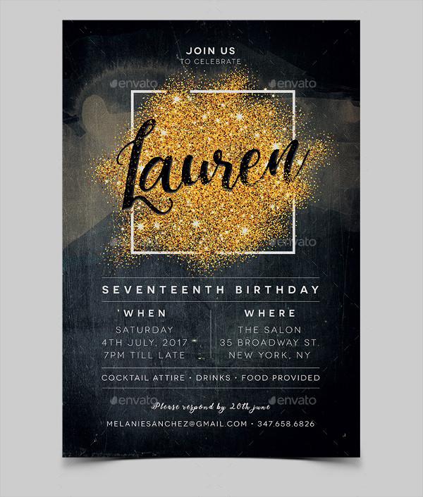 seventeen birthday invitation