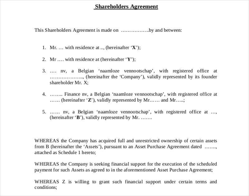 shareholders capital association agreement