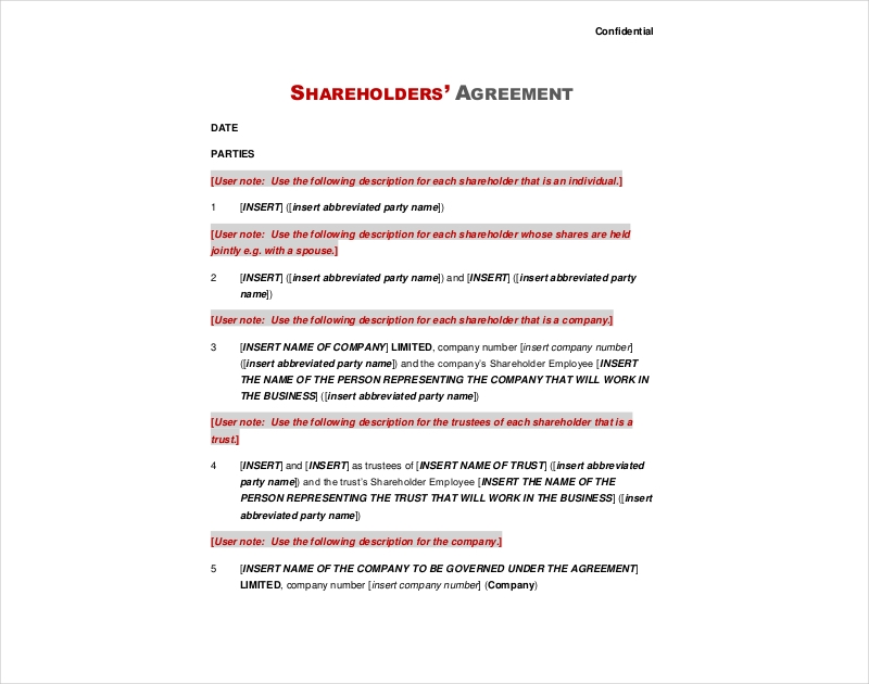 shareholders company service agreement
